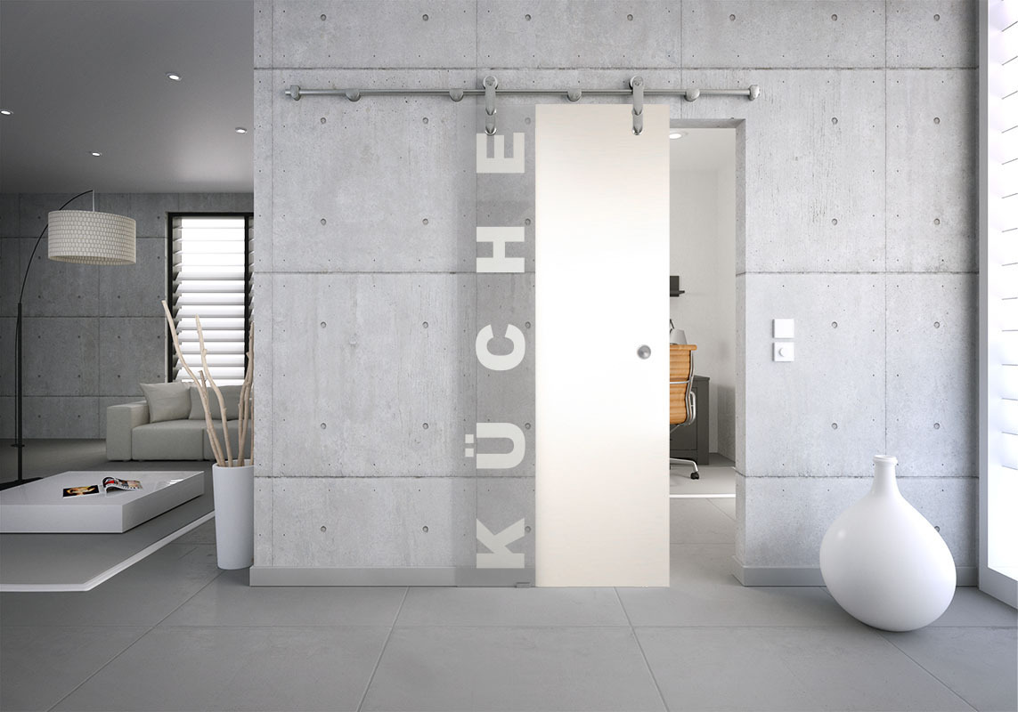 glasschiebet r set 37sag mattiert motiv k che glasschiebet ren glastrennw nde glast ren. Black Bedroom Furniture Sets. Home Design Ideas