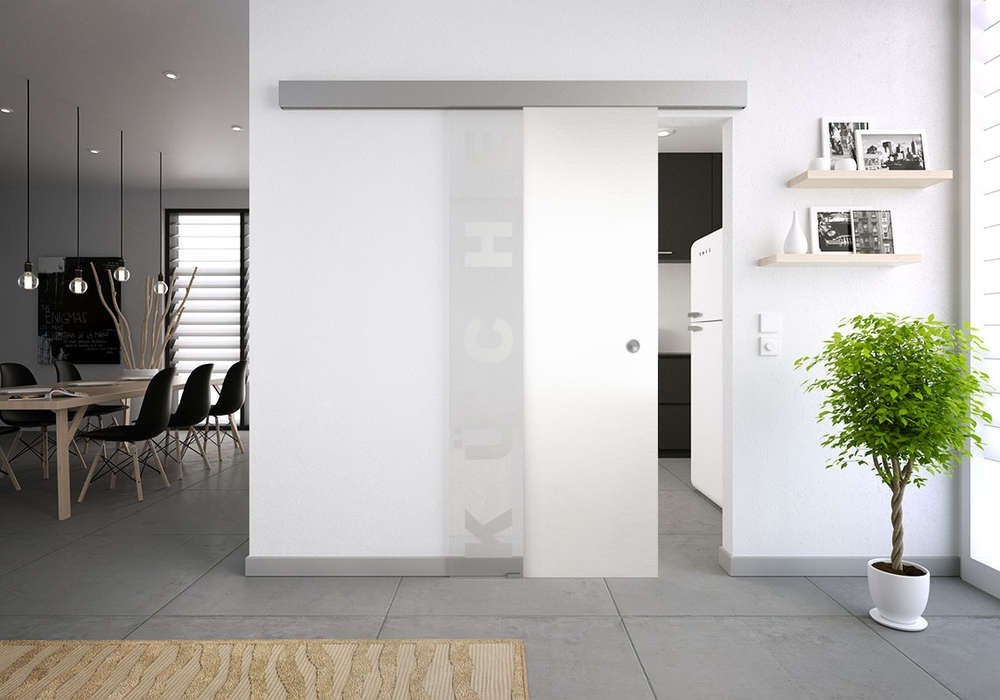 Schiebetür glas küche  Glasschiebetür-Set 37SAG mattiert Motiv: Küche - Glasschiebetüren ...
