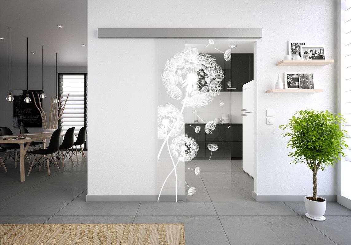 glasschiebet r set 55sag gelasert motiv pusteblume glasschiebet ren glastrennw nde. Black Bedroom Furniture Sets. Home Design Ideas