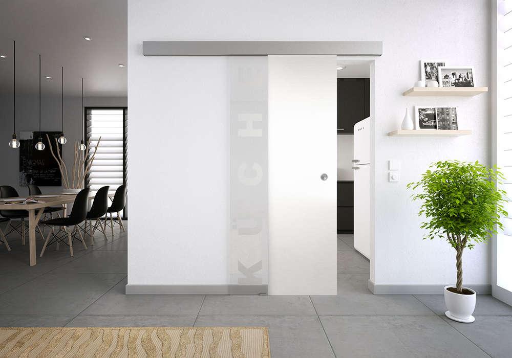 Glastür Küche glasschiebetür-set 37sag mattiert motiv: küche - glasschiebetüren