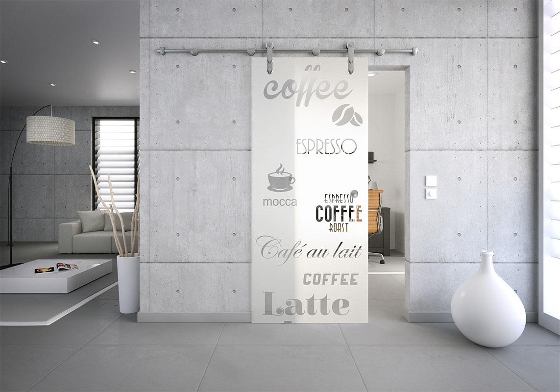 Glasschiebetür-Set 36SEG775 Edelstahl Motiv: Kaffe-Bohne-Latte mit  Griffmuschel