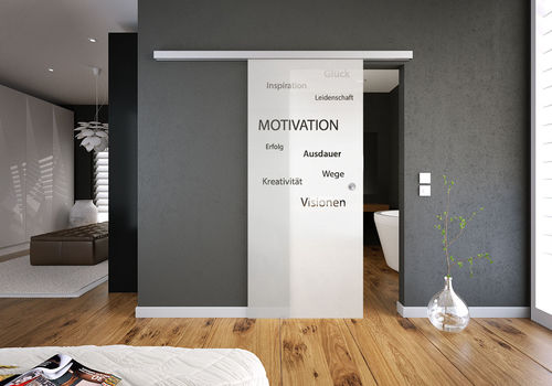 Glasschiebetür-Set 38SAG775-Soft mit Soft-Close Motiv: Motivation mit Griffmuschel
